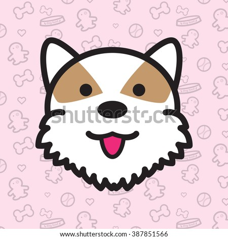 Dog and Puppy Vector and Icon Portrait of Husky Set 3 - stock vector