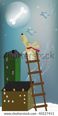 dog and the moon - stock vector