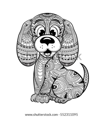 Dog Anti Stress Coloring Book For Adults Black And White Hand Drawn Vector