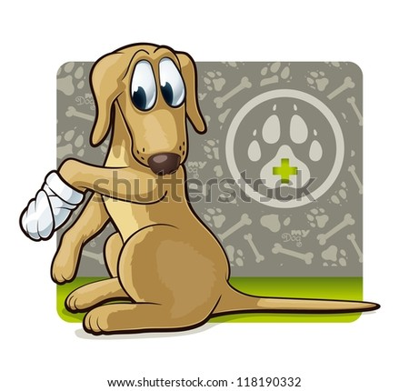 Dog at the doctor's. Cute illustration of first veterinary assistance dog. - stock vector
