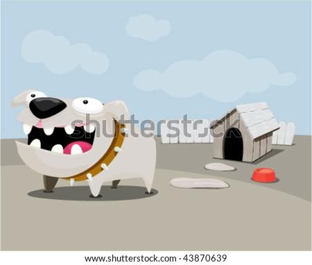 Dog barking in the backyard. - stock vector