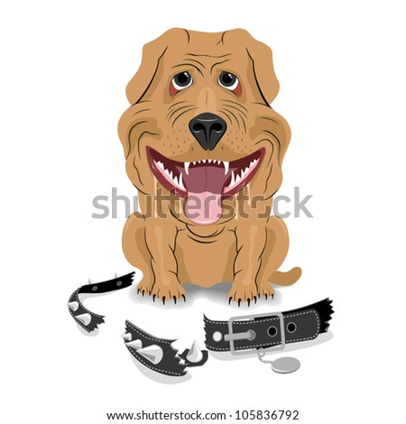 dog bite dog-collar - stock vector
