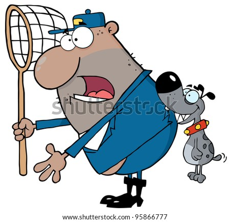 Dog Biting A African American Dog Catcher.Vector Illustration - stock vector