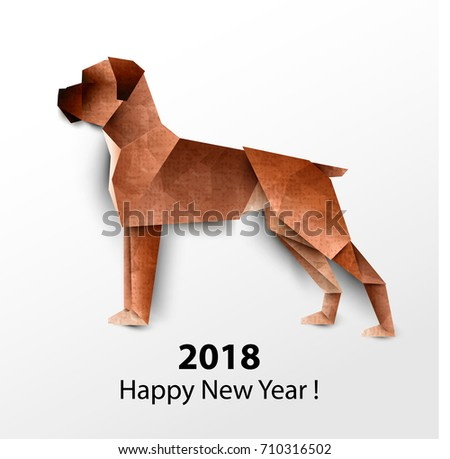 Dog Boxer Colored Paper Origami Vector Illustration 2018 Happy New Year