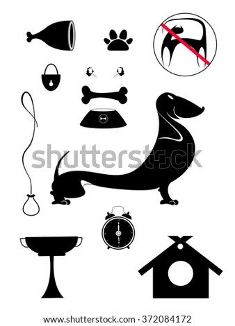 Dog breeding objects collection for design. Dog breeding objects silhouette collection for design - stock vector
