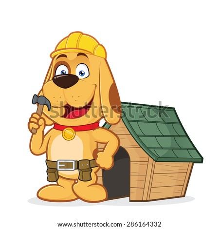 Dog builder with dog house - stock vector