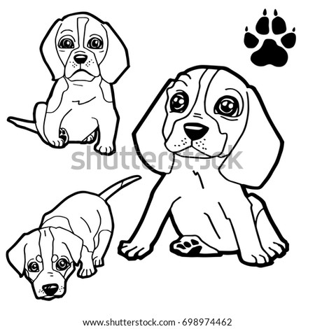 Dog Cartoon Dog Paw Print Coloring Stock Vector 698974462 - Shutterstock