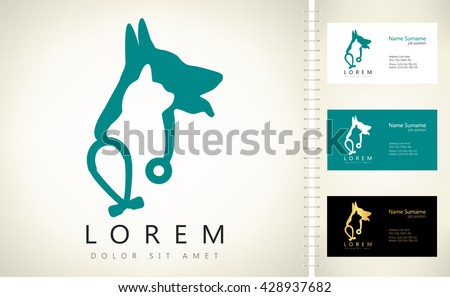Dog, cat and stethoscope logo. - stock vector