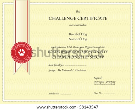Dog championship certificate template stock vector for Dog show certificate template