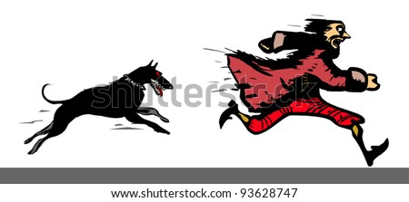 Dog chases a frightened man - stock vector