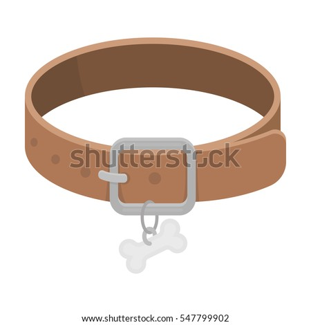 Dog Wearing Collar With Name Tag Clipart