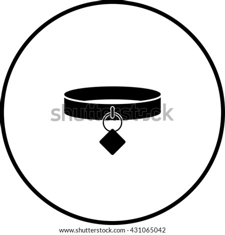 dog collar with tag symbol - stock vector