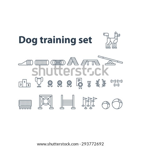 Dog competition, playground set. - stock vector
