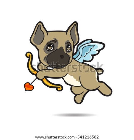 Dog cupid come for help your love successful vector cartoon illustration