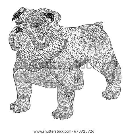 Dog Doodle Coloring Book For Adult Bulldog Isolated On White Background