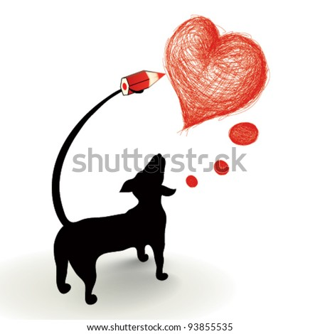 Dog drawing a heart - stock vector