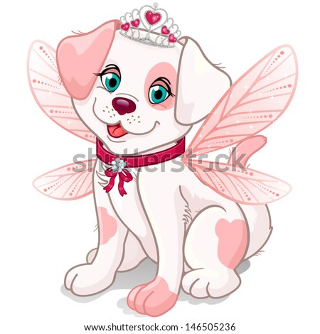 Dog dressed up as a princess fairy with pink wings and crown-wings can be removed-transparency blending effects and gradient mes- EPS10 - stock vector