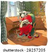 Dog embroiderer - stock vector
