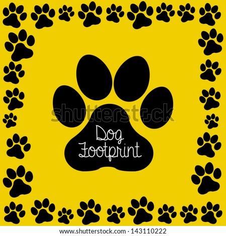 dog footprint over yellow background vector illustration - stock vector