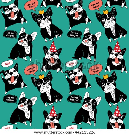 Dog French bulldog happy animals color seamless pattern. Color vector illustration. EPS8 - stock vector