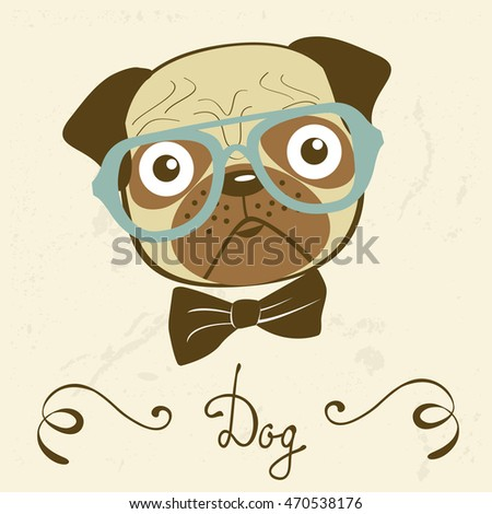 Dog gentleman. Illustration of an elegant pug