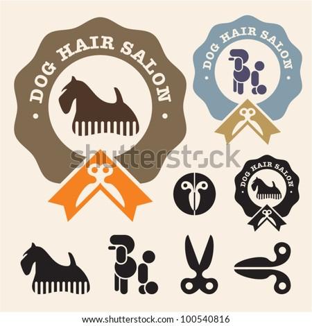 Dog hair salon. Poodle, Scottish Terrier vector icon set - stock vector