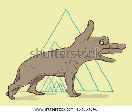 Dog hand - stock vector