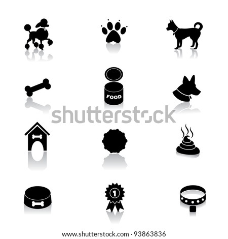 Dog Icon Symbol Set EPS 8 vector, grouped for easy editing. No open shapes or paths. - stock vector