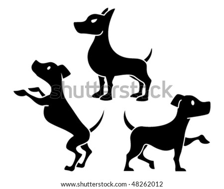 Dog Icons - Mean, Happy and Excited - stock vector