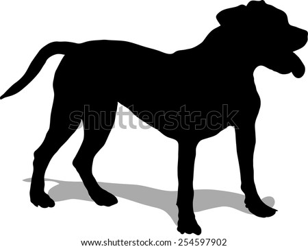 Dog illustration, pit bull - black silhouette - stock vector