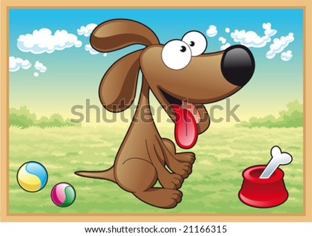 Dog in meadow with his toys - stock vector