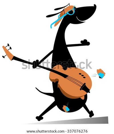 Dog is playing guitar - stock vector