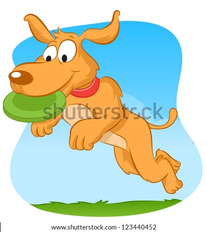 Dog jumping and catching green frisbee