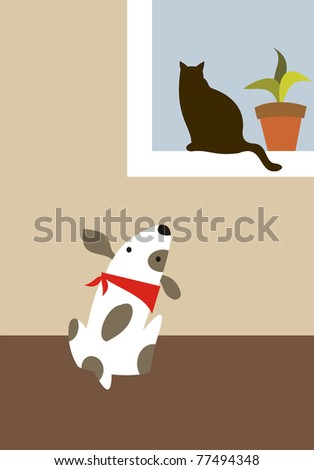 Dog looks a cat in the window - stock vector