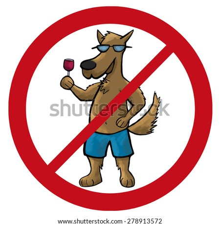 dog no sign cartoon vector illustration pets - stock vector