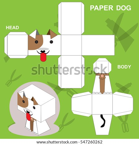 Dog Paper Craft Template Stock Vector   Shutterstock