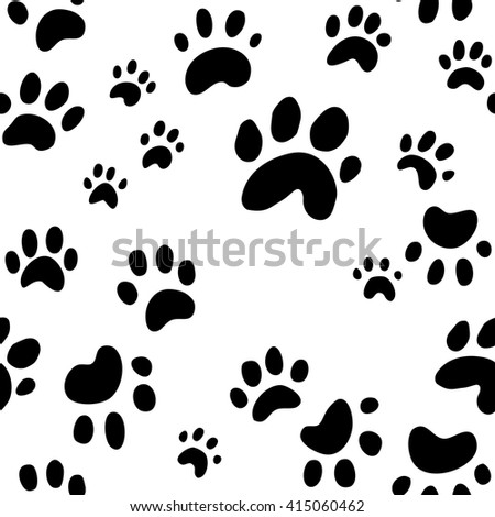 dog paw print seamless wallpaper background vector, cute puppy or dog paw prints in random messy pattern, animal print vector - stock vector