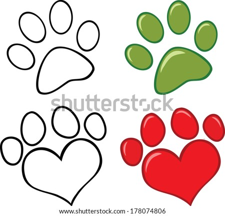 Dog Paw. Set Vector Collection - stock vector
