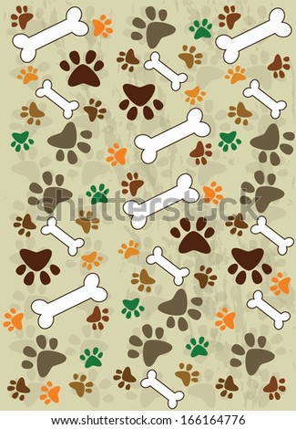 Dog paws background - stock vector
