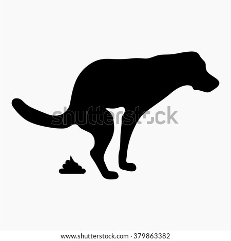 dog pooping vector icon - stock vector