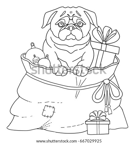 dog pug symbol 2018 new year page for adult coloring book vector illustration - Pug Pictures To Color