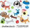 Dog / puppy / pet vector cartoon illustration set - stock vector