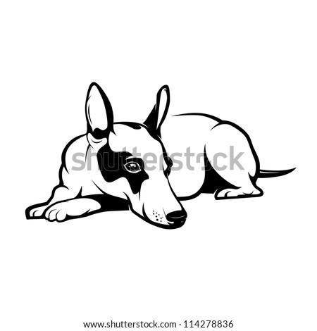dog relax. vector illustration - stock vector