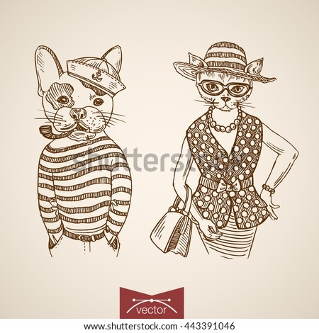 Dog sailor lady cat portrait clothes accessory wearing singlet purse tobacco pipe glasses. Engraving style pen pencil crosshatch hatching paper painting retro vintage vector lineart illustration. - stock vector