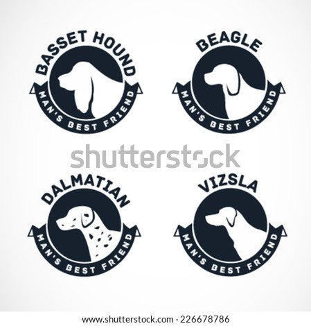 Dog Silhouettes Vector Collection. Vintage Dog Badges - stock vector