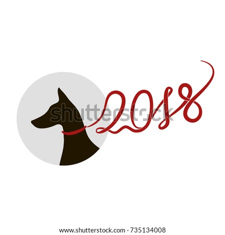 silhouette of doberman pinscher dog red lead in