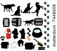 Dog symbol silhouettes, a set of assorted dog poses and pet related objects: fire hydrant; dish; dog house; carrier... - stock vector