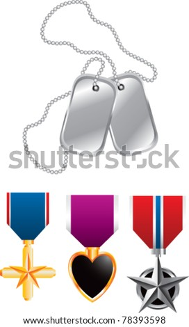 Dog tags and three medals - stock vector