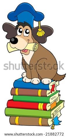 Dog teacher on pile of books - vector illustration. - stock vector