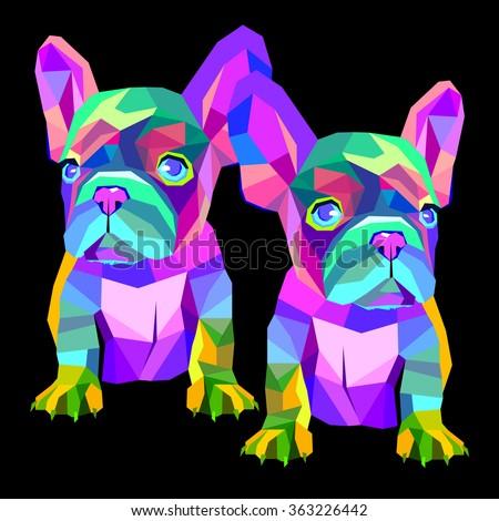 dog vector breed cute pet animal bulldog french - stock vector